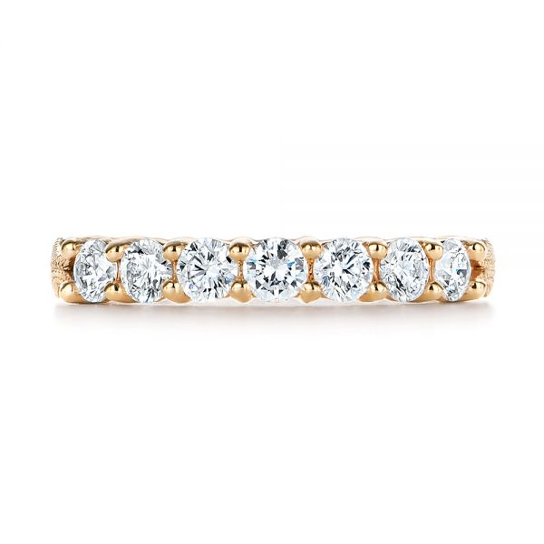 18k Yellow Gold 18k Yellow Gold Cut-out Diamond Wedding Band - Top View -  105787