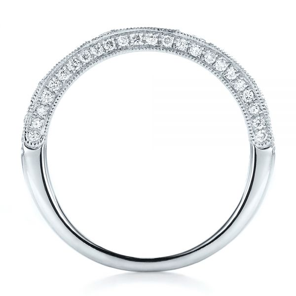 18k White Gold Diamond Channel Set Band With Matching Engagement Ring - Kirk Kara - Front View -