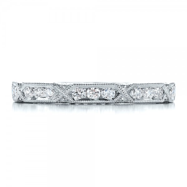 Diamond Channel Set Band with Matching Engagement Ring - Kirk Kara - Top View