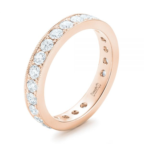 18k Rose Gold 18k Rose Gold Diamond Eternity Wedding Band - Three-Quarter View -