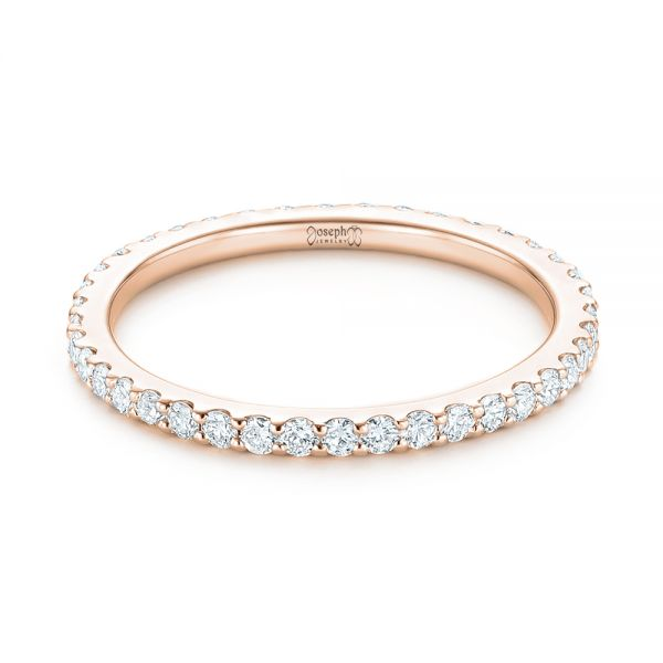 14k Rose Gold 14k Rose Gold Diamond Eternity Wedding Band - Flat View -