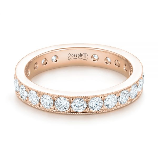 18k Rose Gold 18k Rose Gold Diamond Eternity Wedding Band - Flat View -