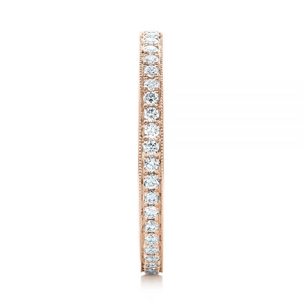 14k Rose Gold 14k Rose Gold Diamond Eternity Wedding Band - Side View -  102818