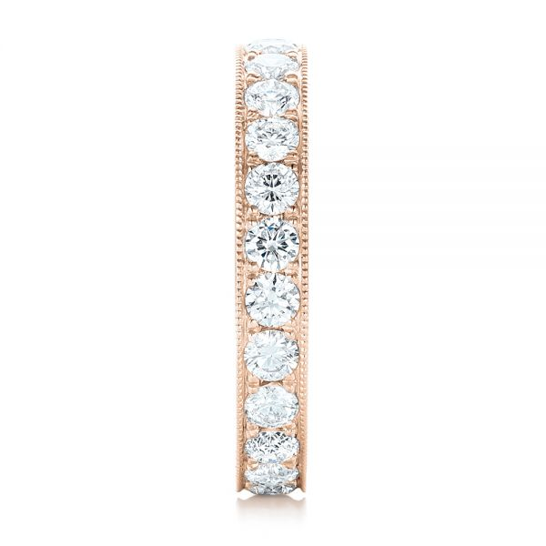 18k Rose Gold 18k Rose Gold Diamond Eternity Wedding Band - Side View -
