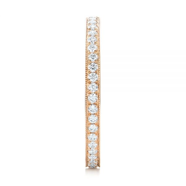 14k Rose Gold Diamond Eternity Wedding Band - Side View -  102824