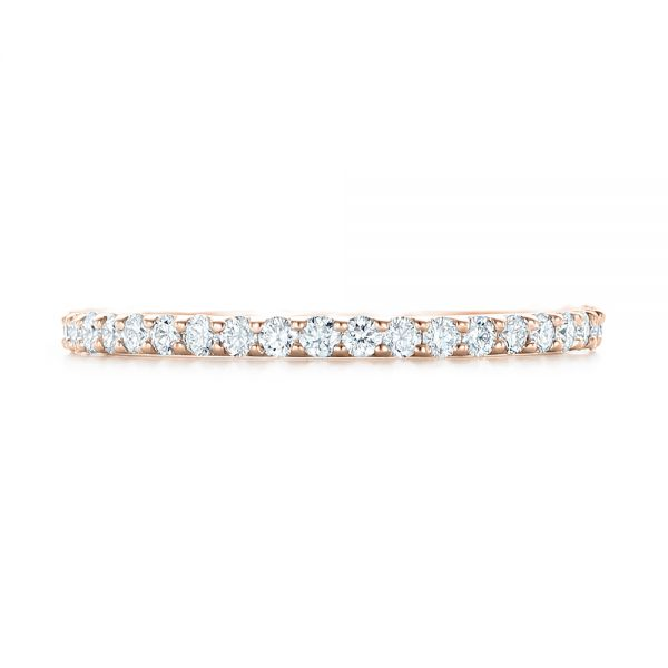 14k Rose Gold 14k Rose Gold Diamond Eternity Wedding Band - Top View -