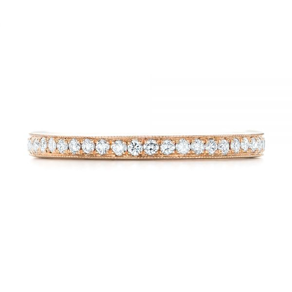 14k Rose Gold Diamond Eternity Wedding Band - Top View -  102824