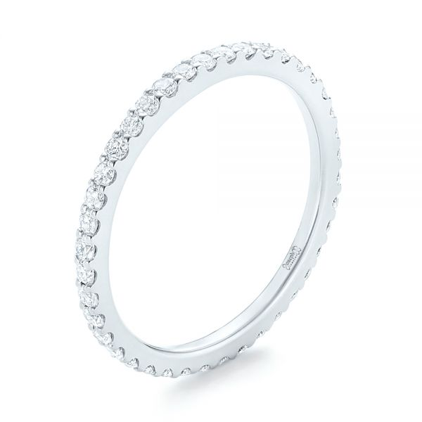 Platinum Platinum Diamond Eternity Wedding Band - Three-Quarter View -