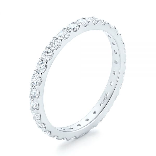 18k White Gold 18k White Gold Diamond Eternity Wedding Band - Three-Quarter View -  102765