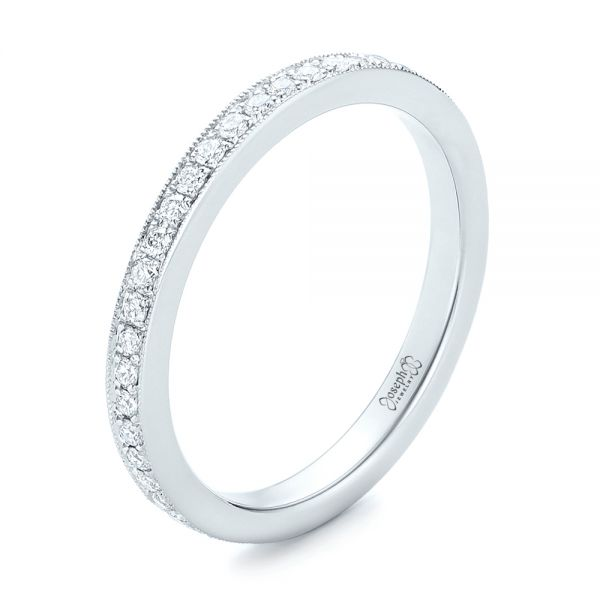 14k White Gold Diamond Eternity Wedding Band - Three-Quarter View -  102818
