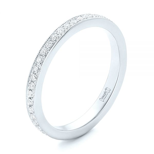 14k White Gold 14k White Gold Diamond Eternity Wedding Band - Three-Quarter View -  102824