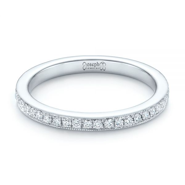 14k White Gold Diamond Eternity Wedding Band - Flat View -  102818