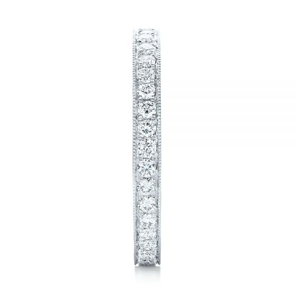 14k White Gold Diamond Eternity Wedding Band - Side View -