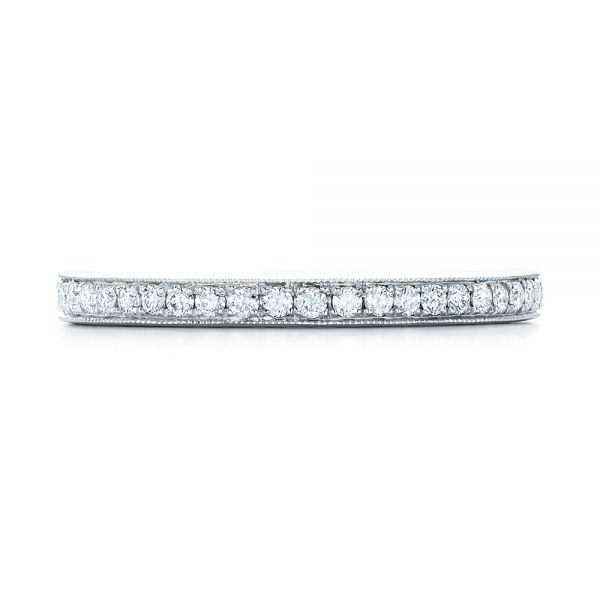 14k White Gold Diamond Eternity Wedding Band - Top View -  102818