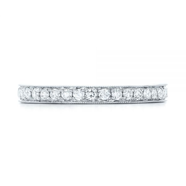 14k White Gold Diamond Eternity Wedding Band - Top View -