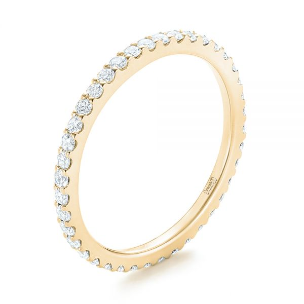 14k Yellow Gold 14k Yellow Gold Diamond Eternity Wedding Band - Three-Quarter View -