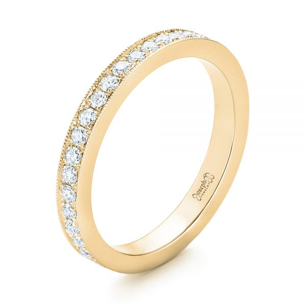 18k Yellow Gold 18k Yellow Gold Diamond Eternity Wedding Band - Three-Quarter View -  102819