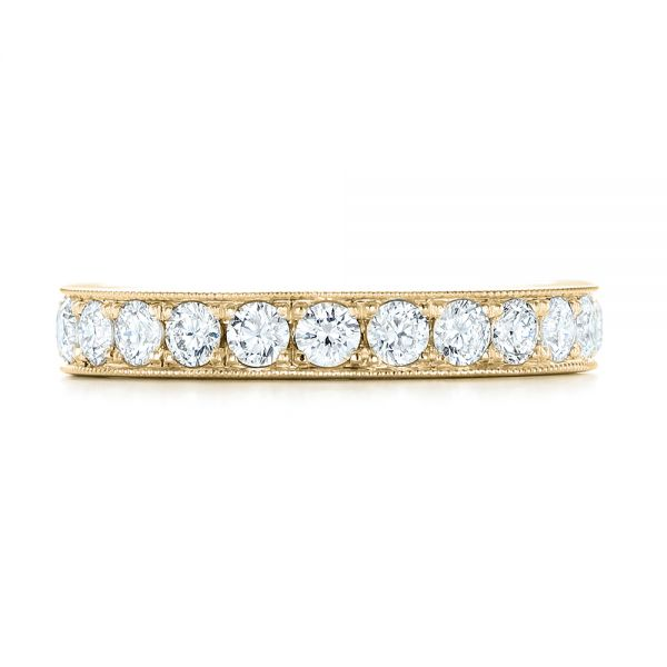 18k Yellow Gold 18k Yellow Gold Diamond Eternity Wedding Band - Top View -