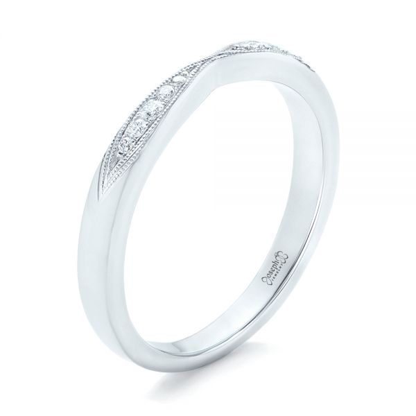 Diamond Notched Wedding Band - Image