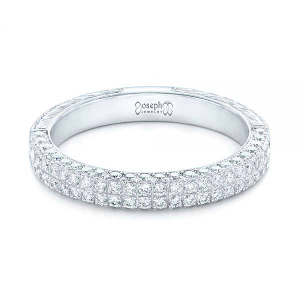 18k White Gold Diamond Pave Wedding Band - Flat View -