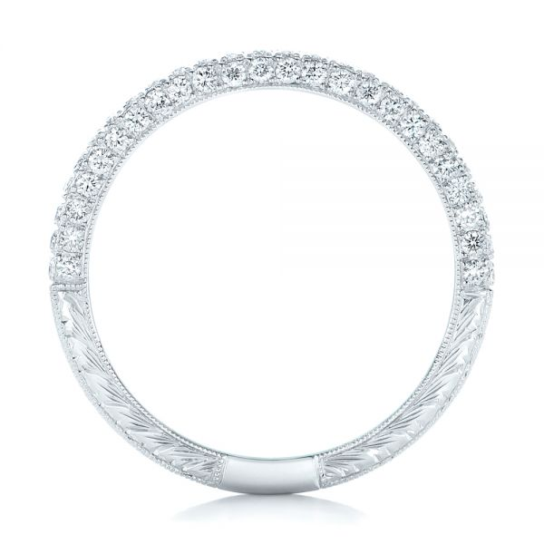 18k White Gold Diamond Pave Wedding Band - Front View -