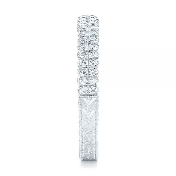 18k White Gold Diamond Pave Wedding Band - Side View -