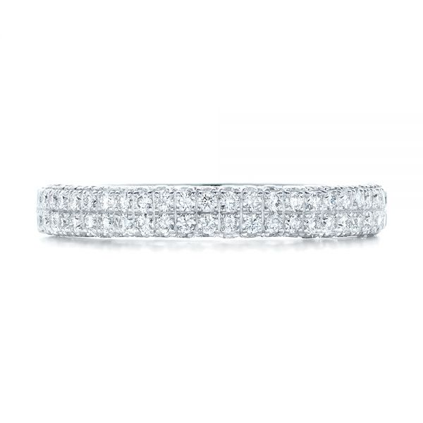 18k White Gold Diamond Pave Wedding Band - Top View -