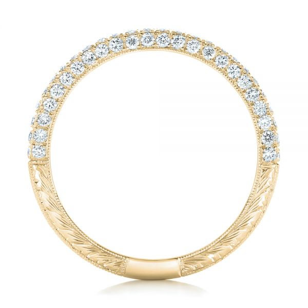 14k Yellow Gold 14k Yellow Gold Diamond Pave Wedding Band - Front View -