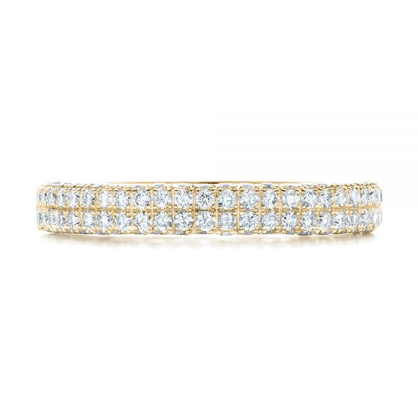 14k Yellow Gold 14k Yellow Gold Diamond Pave Wedding Band - Top View -
