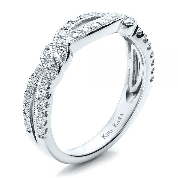 Diamond Split Shank Wedding Band With Matching Engagement Ring - Kirk Kara - Three-Quarter View -