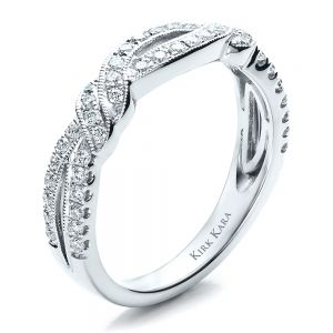 Diamond Split Shank Wedding Band with Matching Engagement Ring - Kirk Kara - Image