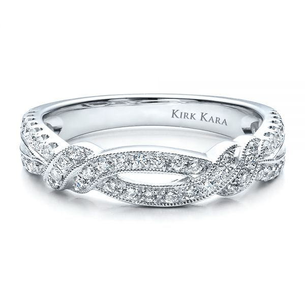 Diamond Split Shank Wedding Band With Matching Engagement Ring - Kirk Kara - Flat View -