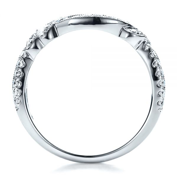 Diamond Split Shank Wedding Band With Matching Engagement Ring - Kirk Kara - Front View -