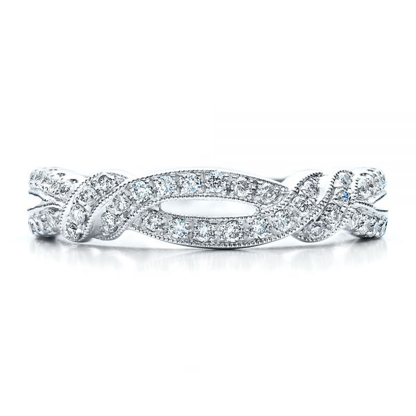 Diamond Split Shank Wedding Band With Matching Engagement Ring - Kirk Kara - Top View -