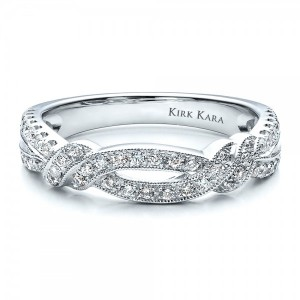 Diamond Split Shank Wedding Band with Matching Engagement Ring - Kirk Kara