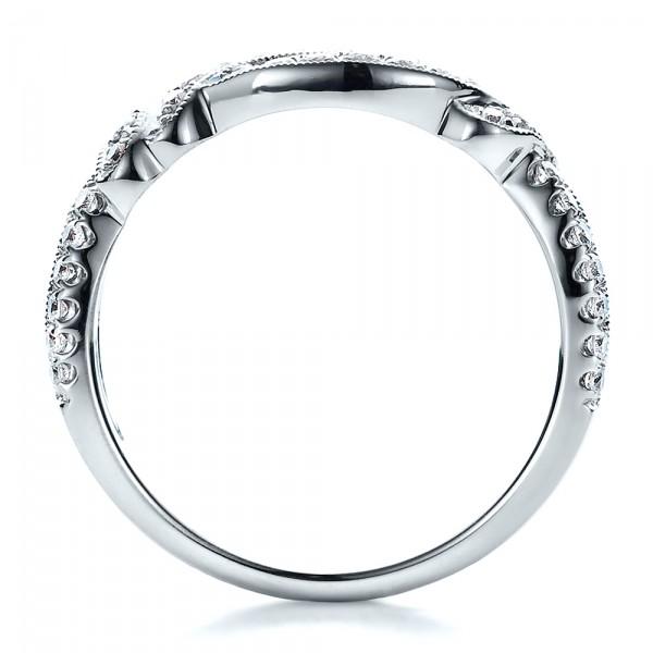 Diamond Split Shank Wedding Band with Matching Engagement Ring - Kirk Kara - Finger Through View