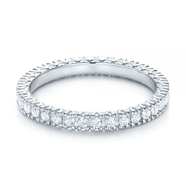 18k White Gold Diamond Stackable Eternity Band - Flat View -