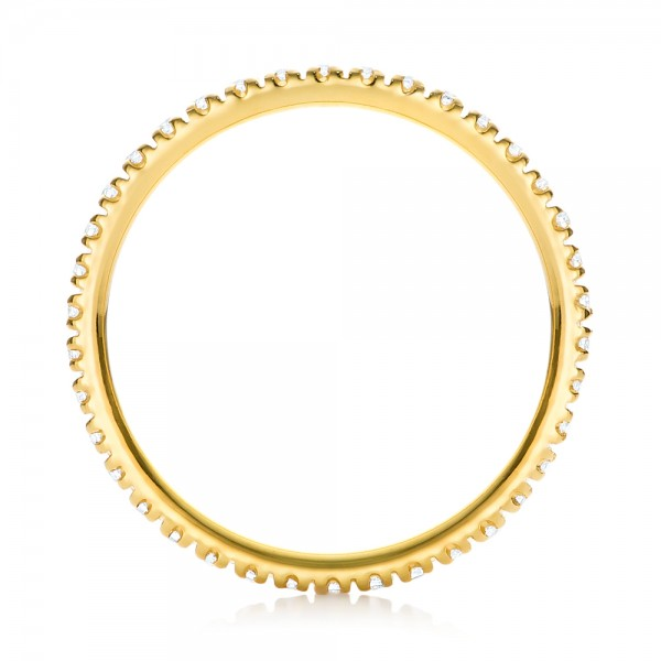 Yellow Gold Diamond Stackable Eternity Band - Finger Through View