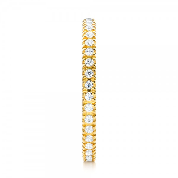 Yellow Gold Diamond Stackable Eternity Band - Side View