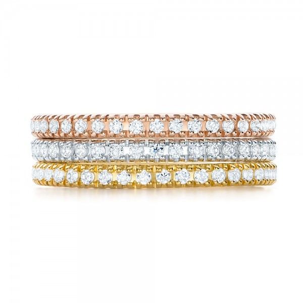 Yellow Gold Diamond Stackable Eternity Band - Top View