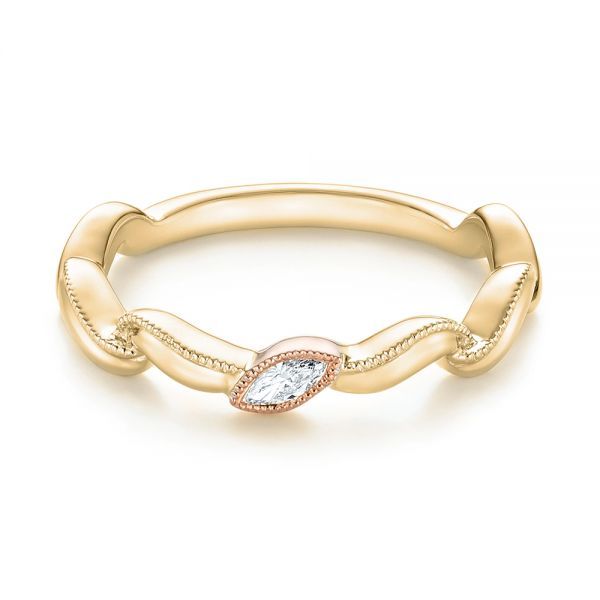14k Yellow Gold And 18K Gold 14k Yellow Gold And 18K Gold Diamond Wedding Band - Flat View -  103109