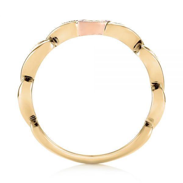 14k Yellow Gold And 18K Gold 14k Yellow Gold And 18K Gold Diamond Wedding Band - Front View -  103109