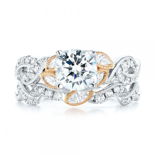 Two-Tone Diamond Wedding Band - Top View