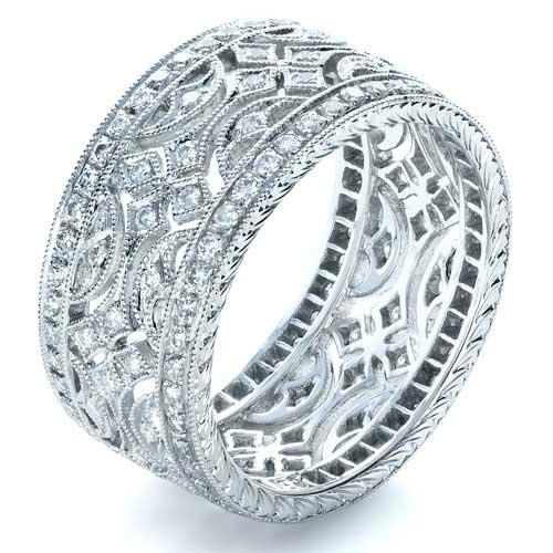Diamond Women's Anniversary Band - Finger Through View