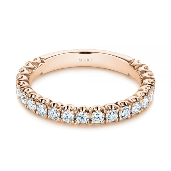 18k Rose Gold 18k Rose Gold Diamond Women's Wedding Band - Flat View -