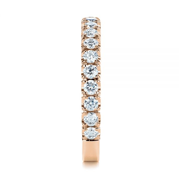 18k Rose Gold 18k Rose Gold Diamond Women's Wedding Band - Side View -