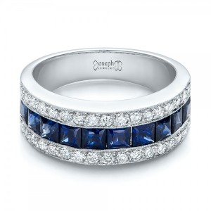 Diamond and Blue Sapphire Anniversary Band