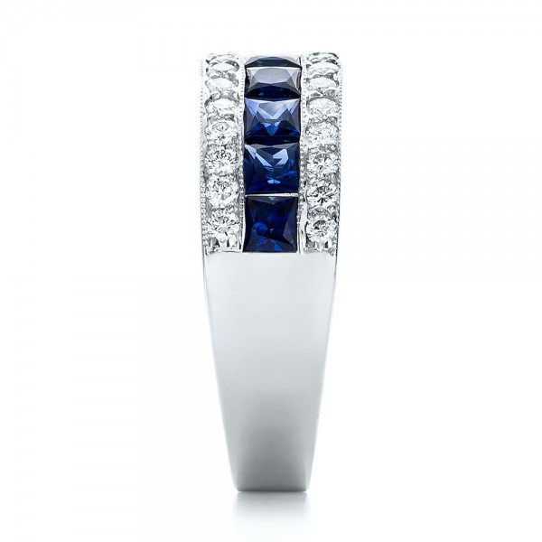 Diamond and Blue Sapphire Anniversary Band - Side View