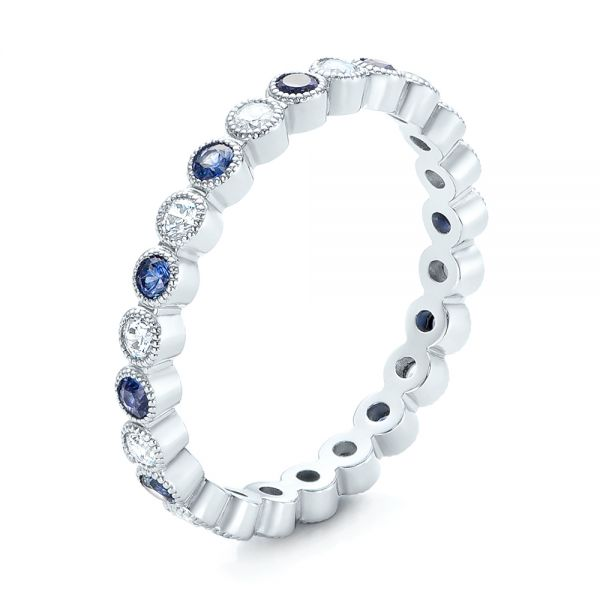 18k White Gold Diamond And Blue Sapphire Stackable Eternity Band - Three-Quarter View -  101894