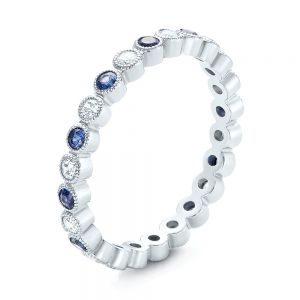 Diamond and Blue Sapphire Stackable Eternity Band - Image